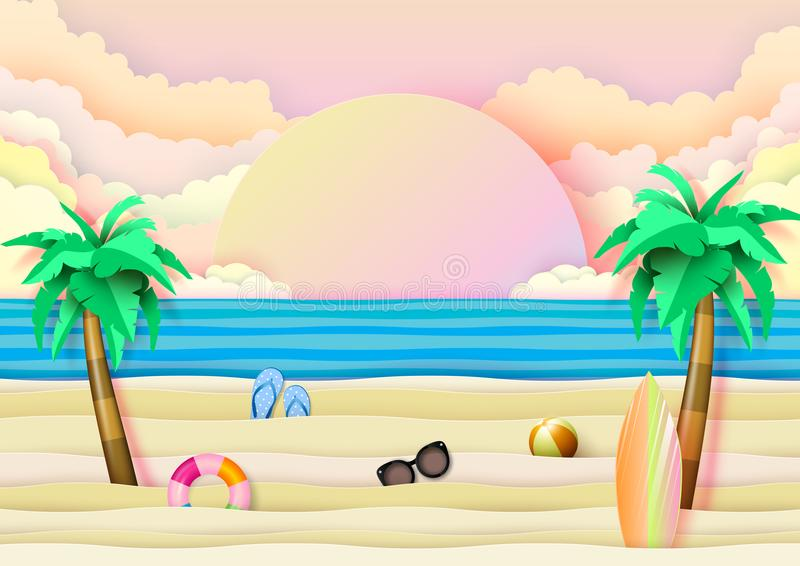 Summer beach and travel concept paper art style. Summer beach and travel banner concept design on blue wave ocean background.Paper art vector illustration royalty free illustration