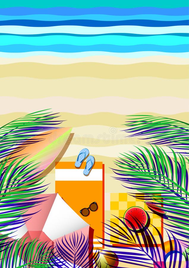 Summer beach concept with tropical vintage abstract background. Summer beach and travel concept with tropical vintage abstract background.Vector illustration stock illustration