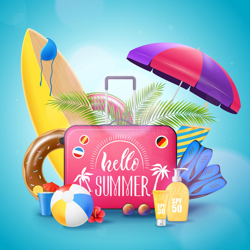 Summer Beach Vacation Background Poster Stock Vector
