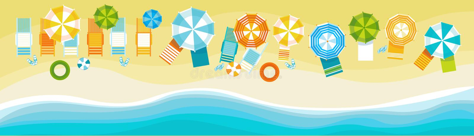 Summer Beach Vacation Set Sand Tropical Holiday Banner stock illustration