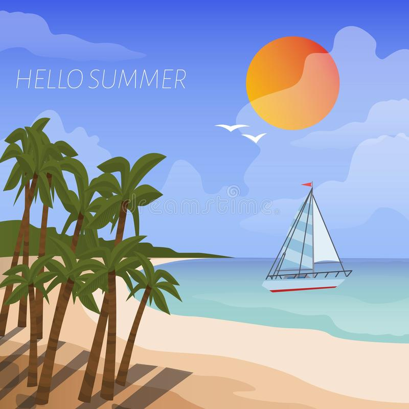 Summer beach vacation vector cartoon style poster. Background of sea shore with boat in the sea, sun and tropical palm stock illustration