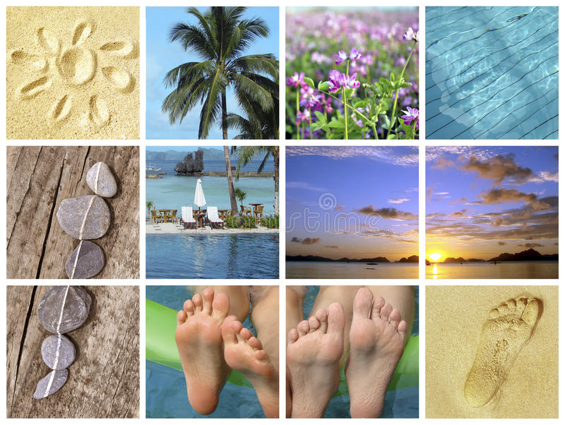 Summer beach vacations, nature travel and tourism collage royalty free stock images