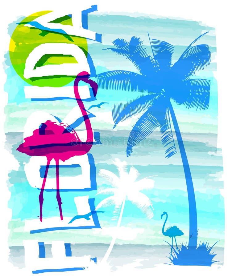 Summer beach vector background in retro style vector illustration