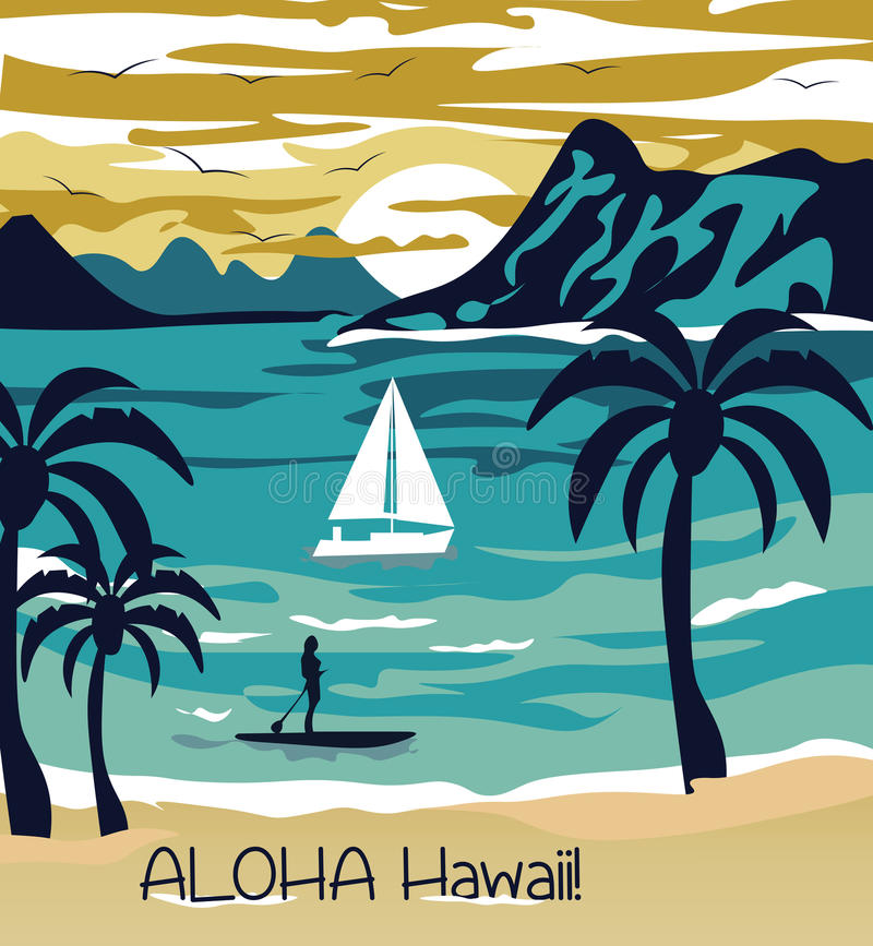 Free Summer Beach With Palm Trees Hawaii Card Royalty Free Stock Photo - 74797305