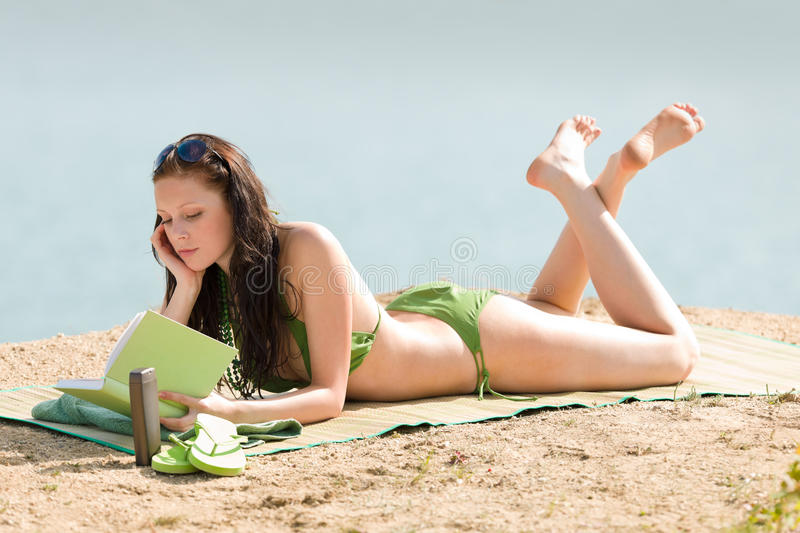 Summer Beach Woman Relax With Book Bikini Royalty Free Stock Photography