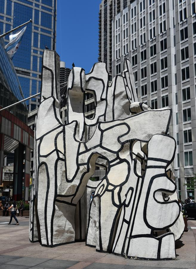 Summer Beast. This is a Summer picture of the public art piece entitled Monument With Standing Beast located at the James R. Thompson Center in Chicago, Illinois royalty free stock image
