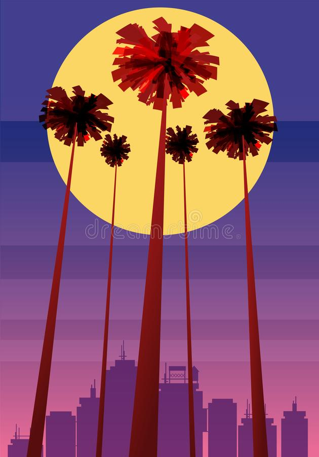 Summer beatiful sunset backgrounds with palms trees cityscape, sky horison. Vector illustration, isolated, template. Summer beatiful sunset backgrounds with vector illustration