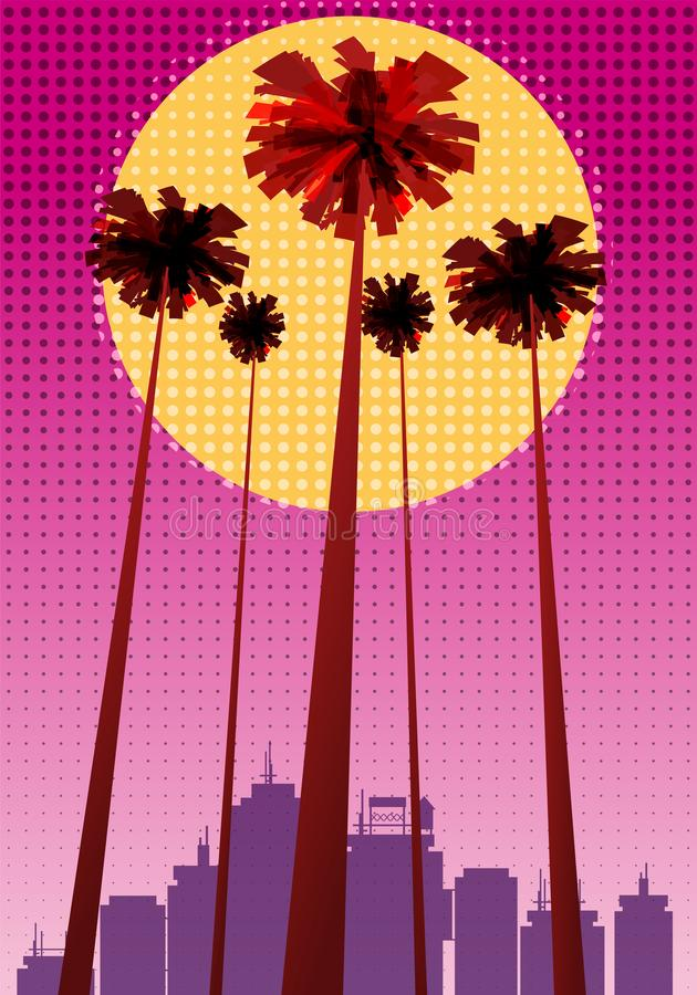 Summer beatiful sunset backgrounds with palms trees cityscape, sky horison dots pattern. Vector illustration, isolated. Summer beatiful sunset backgrounds with vector illustration