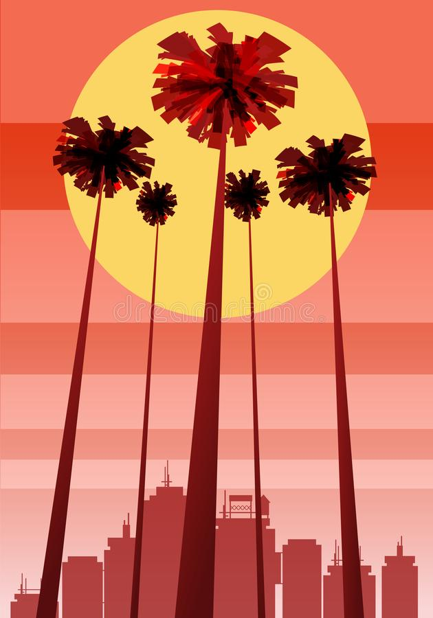 Summer beatiful sunset backgrounds with palms trees cityscape, sky horison. Vector illustration, isolated, template. Summer beatiful sunset backgrounds with royalty free illustration