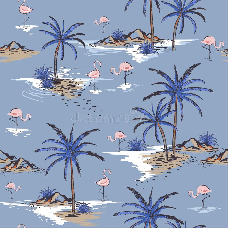 Summer Beautiful seamless island pattern on cool blue background vector illustration