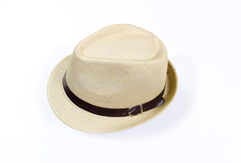 Summer beige hat isolated on white background royalty free stock image