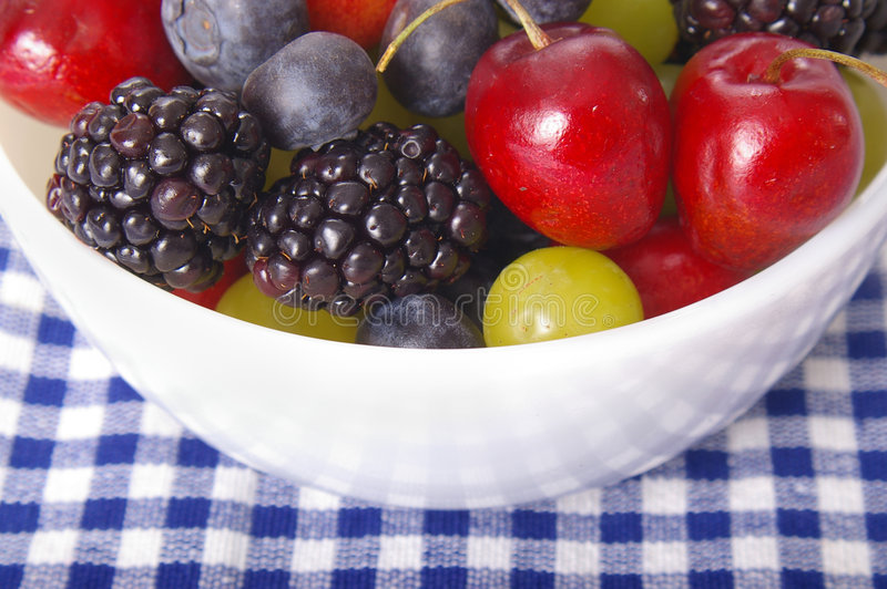 Summer Berries. Closeup on a bowl of juicy, fresh summer berries stock image