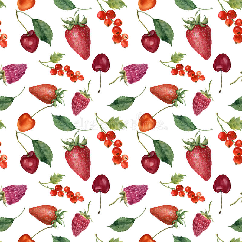Summer berries and fruits watercolor food seamless pattern. Watercolor strawberry, cherry, redcurrant, raspberry and leaves vector illustration