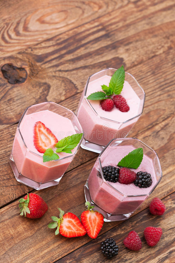 Summer berries smoothie with mint royalty free stock photo