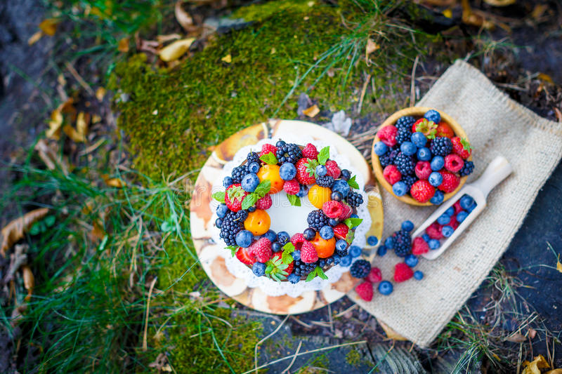 Summer berry cake royalty free stock photography
