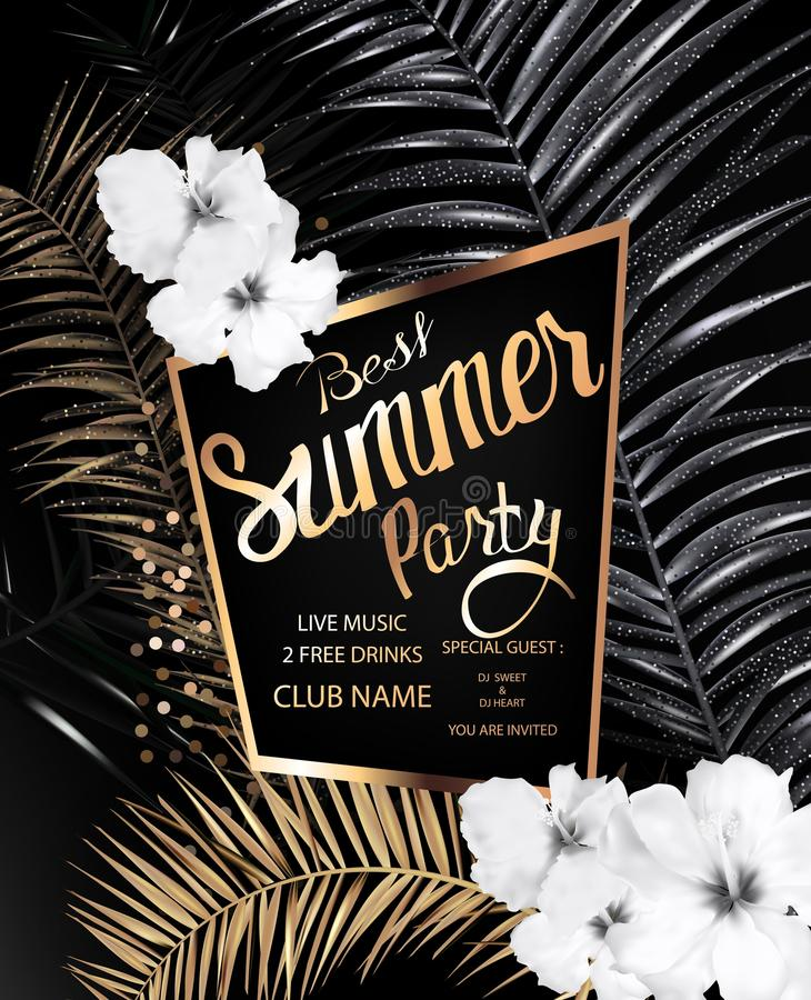 Summer best party banner with gold and black palm leaves, monochrome flowers and gold frame. vector illustration
