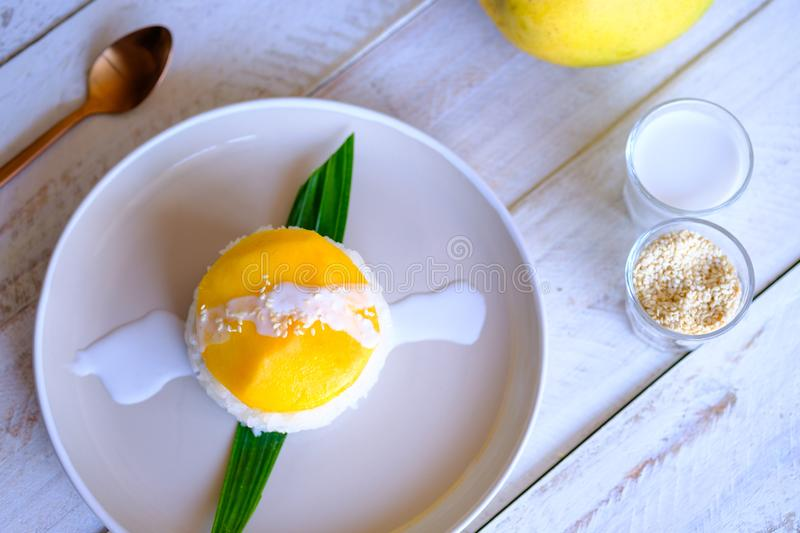 A traditional Thai dessert Mango and Sweet coconut sticky rice. royalty free stock images