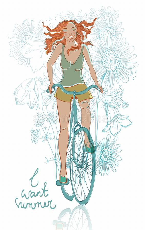 Summer Bicycle Smiling Girl Stock Photo