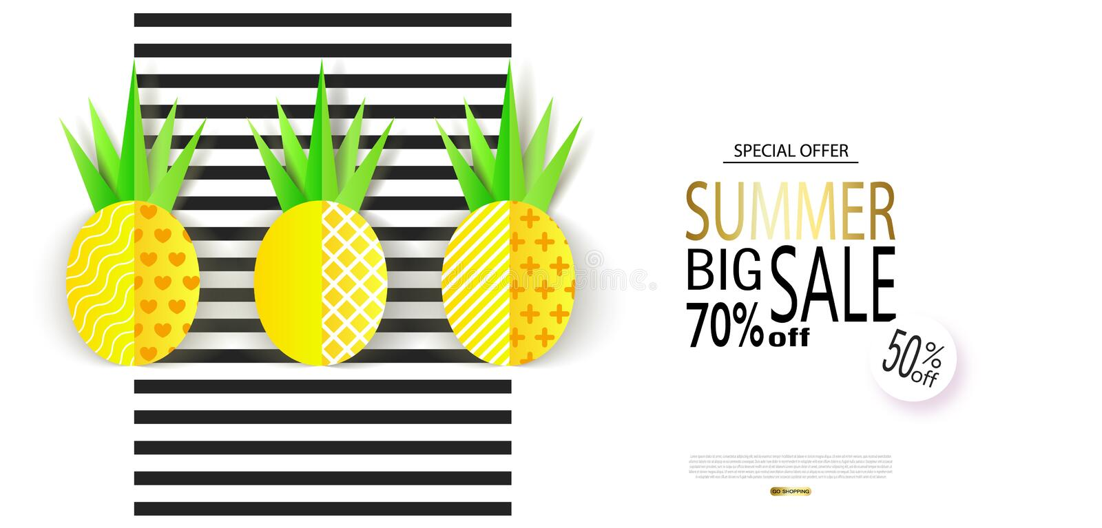 Summer Big Sale banner with sweet paper pineapples on striped background. Vector illustration vector illustration
