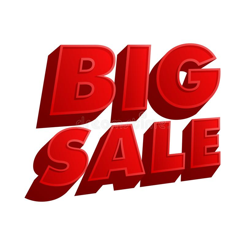 BIG sale. Concept design a illustrator vector of word text offer BIG sale red banners png file isolated on white background stock illustration
