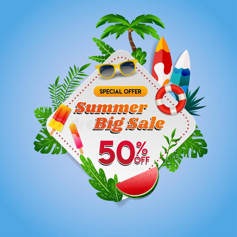 Summer big sale on square diamond sign with tropical theme on blue background Summer big sale on square diamond sign with tropical. Summer big sale on square royalty free illustration