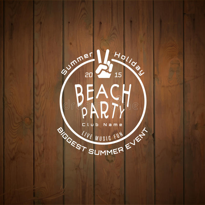 Summer biggest event label logo on wooden background blurry textures stock image