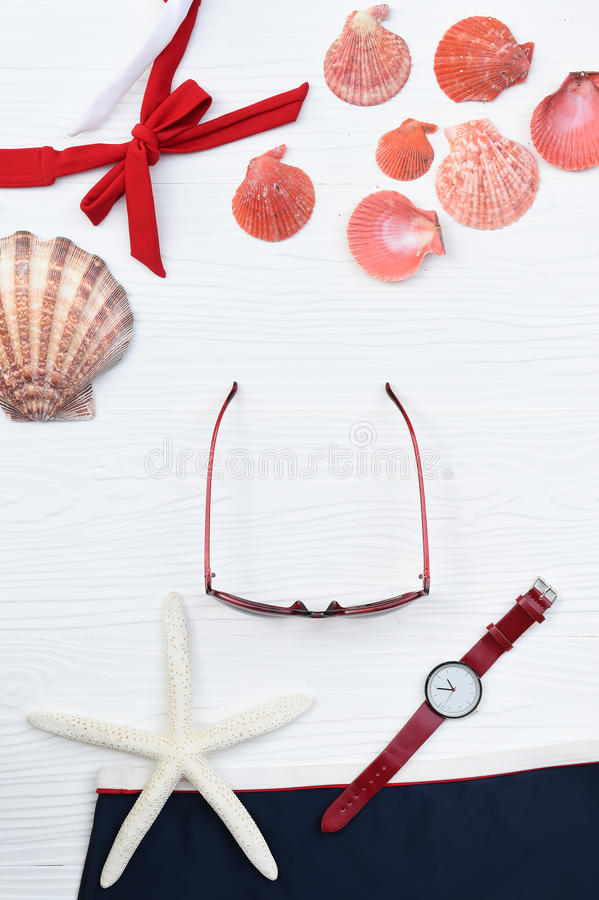 Summer bikini and sunglasses with accessories stock images