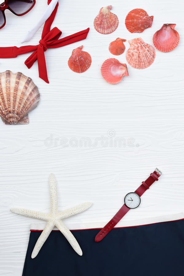 Summer bikini and sunglasses with accessories royalty free stock image