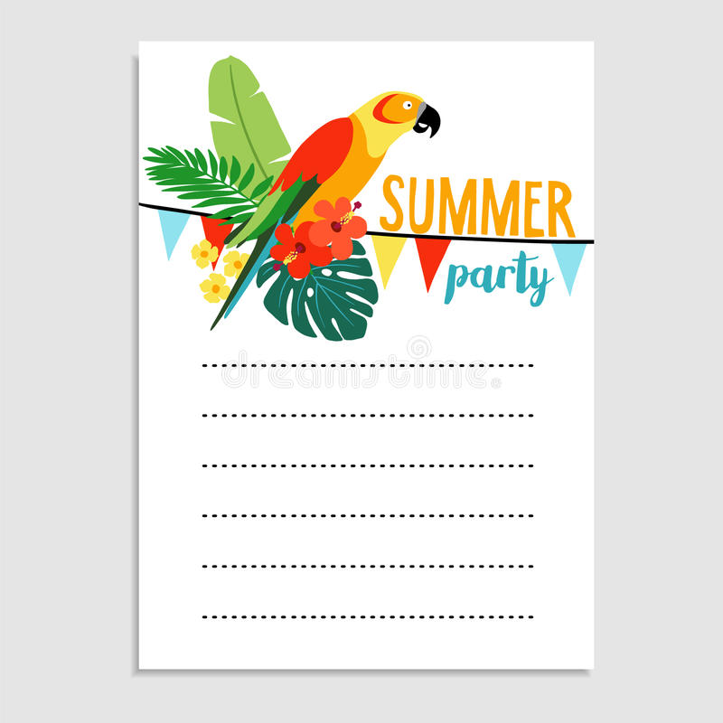 Summer birthday party greeting card, invitation. Parrot bird, palm leaves, hibiscus flowers. Paper flags decoration. Tropical jungle design. Web banner. vector vector illustration