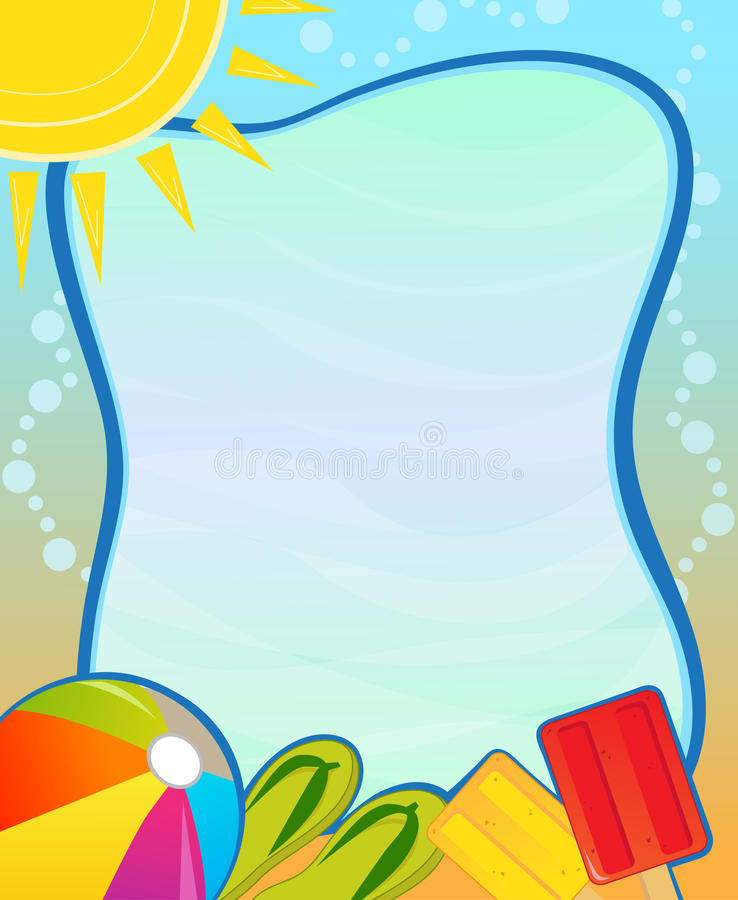 Summer Blank Sign. Colorful aquatic blank sign with beach ball, flip flops and popsicle. Eps10 royalty free illustration