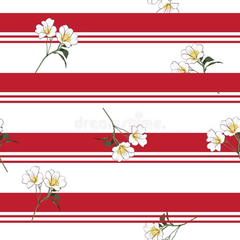Summer blooming meadow flowers on resort stripe seamless pattern royalty free illustration