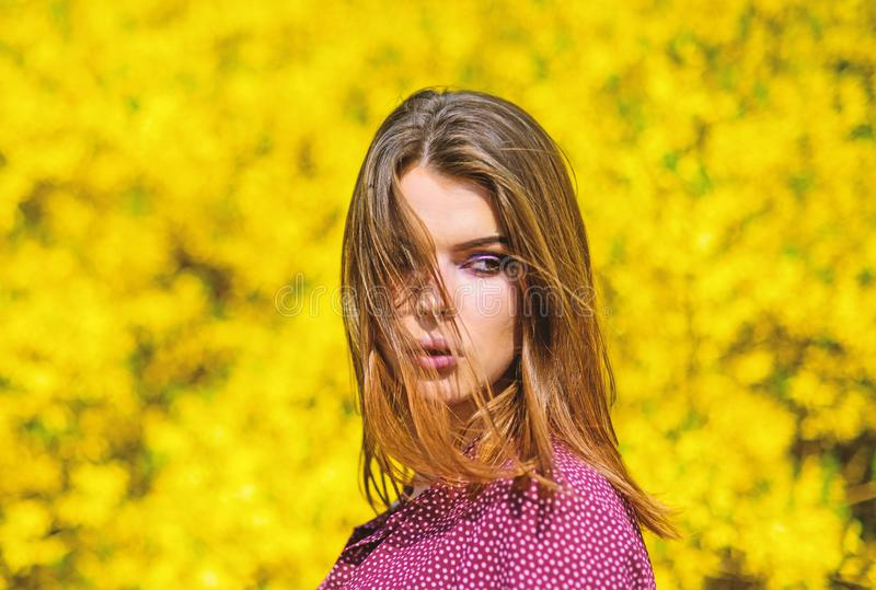 Summer blooming trees and yellow flowers. fashion beauty. natural beauty makeup. hair fashion. pretty woman skincare royalty free stock images