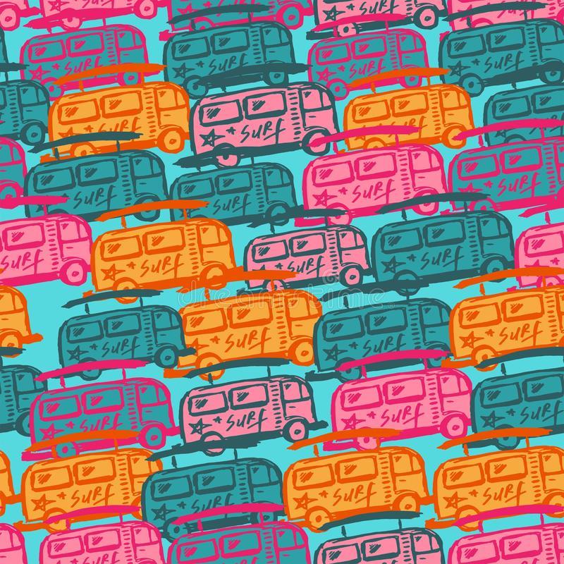 Seamless pattern with multi-colored buses. vector illustration