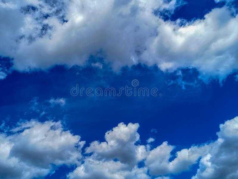 Summer blue, cloudy sky stock images
