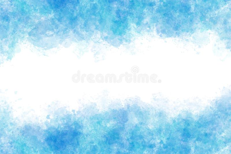 Summer blue color water wave splash abstract or watercolor paint background stock illustration