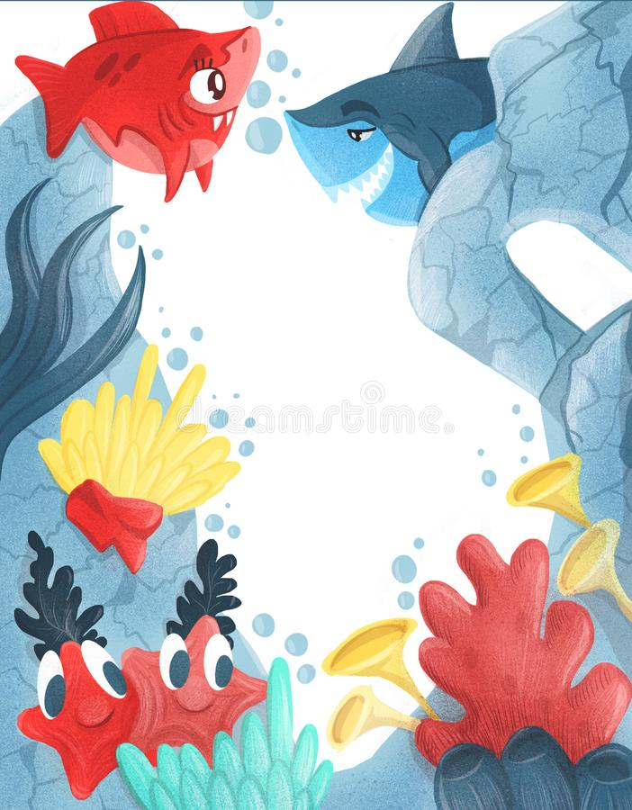 Summer Blue lagoon. frame with exotic fish and corals. Illustration royalty free illustration