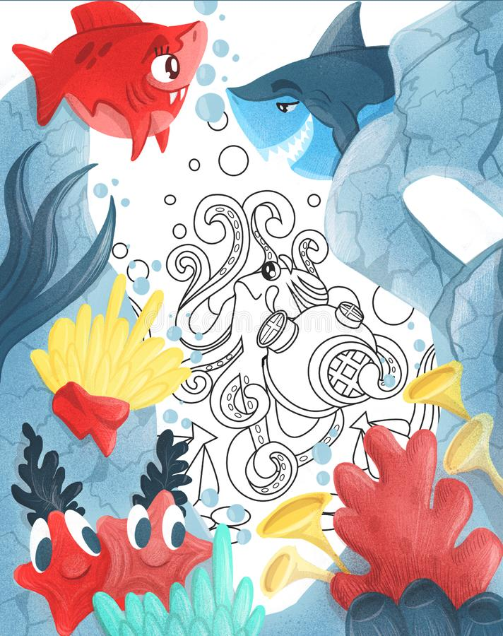 Summer Blue lagoon. frame with exotic fish and corals. Illustration stock illustration