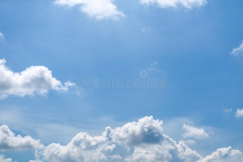 summer blue sky soft cloud white huge heap cloud sunshine stock photography