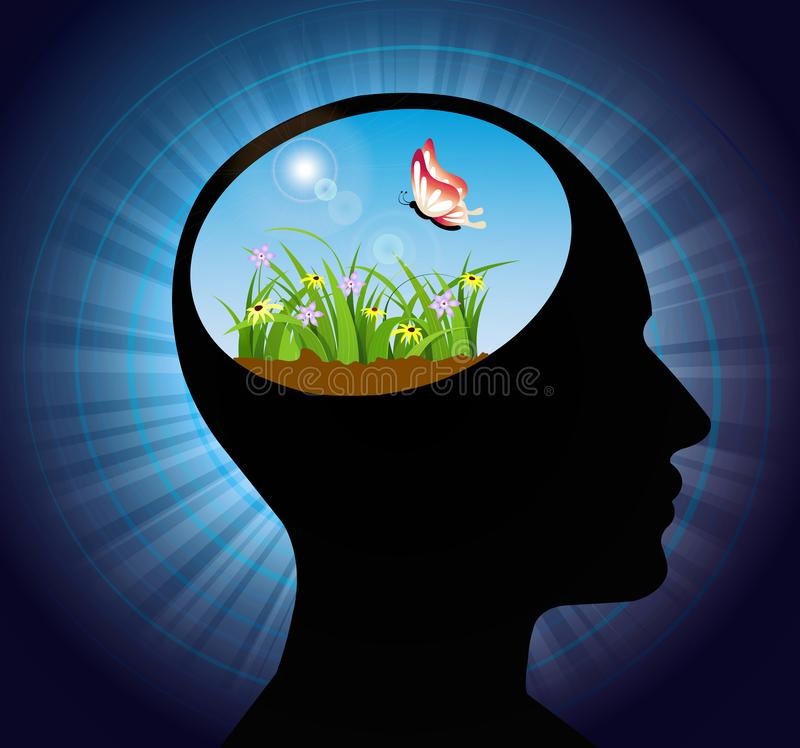 Free thinking, nourish your mind, positive thoughts and good intentions, brain power concept stock illustration