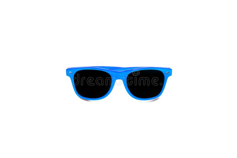 Summer blue sunglasses isolated in seamless large white background. Minimal design element for sun protection, hot days. Tropical travel, summer vacations and stock photography
