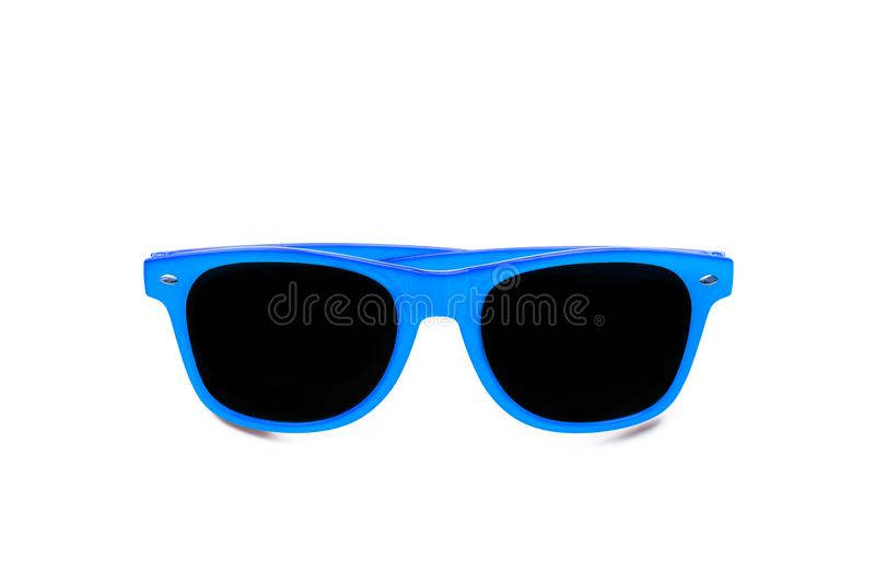 Summer blue sunglasses isolated in seamless white background. Minimal design element for sun protection, hot days, tropical travel. Summer vacations and beach royalty free stock photos