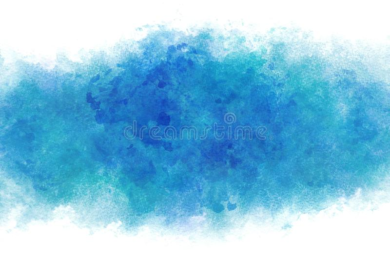 Summer blue water wave abstract or vintage watercolor paint background royalty free illustration