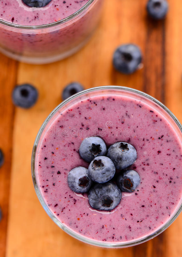 Summer Blueberry smoothie. Blueberry oats almond milk vegan summer smoothie stock photography