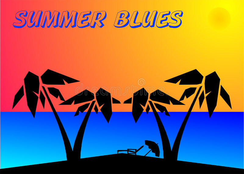 Summer Blues. Poster for travel commercial, created in Coredraw10 royalty free illustration