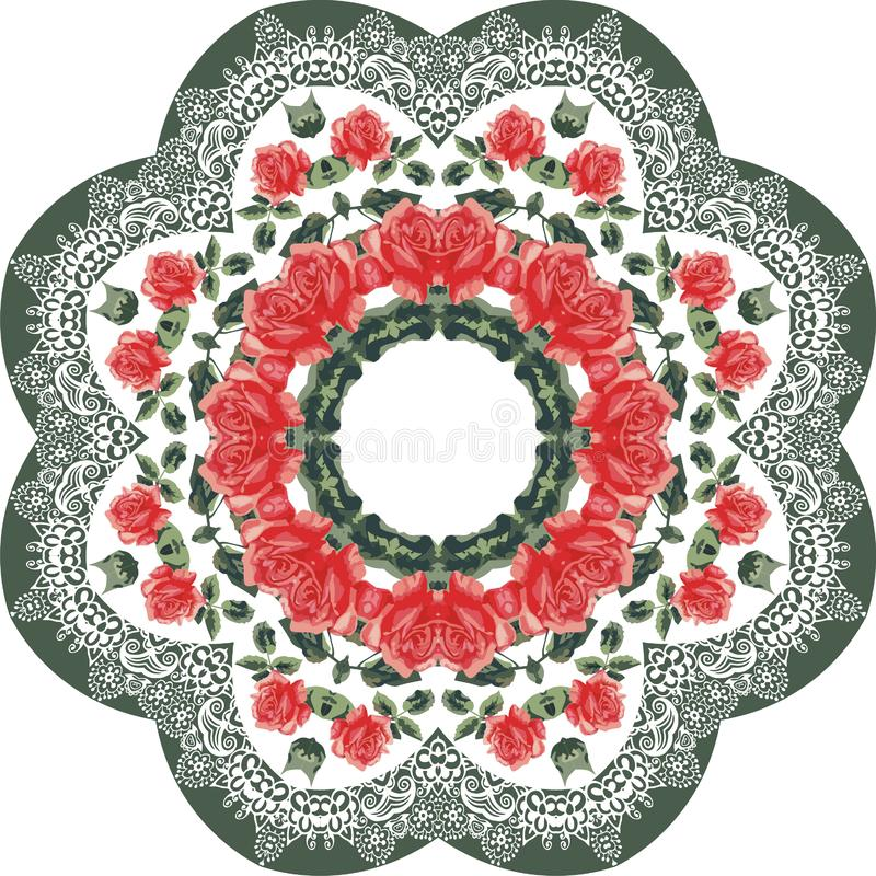 Summer botanical flower roses and lace circle frame pattern. Style shabby chic, boho, provence. Red, green, white colors. royalty free illustration