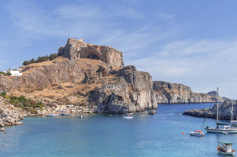 Summer bottom cliff view Acropolis of Lindos of Rhodes royalty free stock photos
