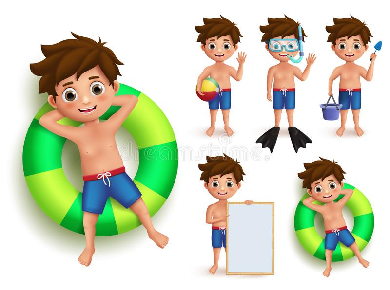 Summer boy kid vector character set. Young kids doing summer outdoor activities like swimming. Floating in buoy and playing isolated in white. Vector vector illustration