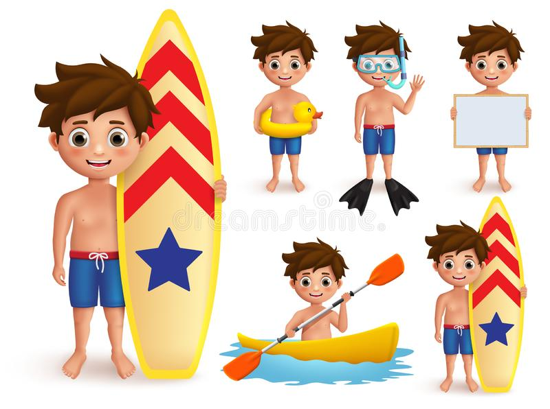 Summer boy kids vector character set. Beach boy with summer day outdoor activities like surfing vector illustration