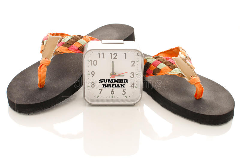 Summer Break. Count Down With Clock And Sandals royalty free stock image
