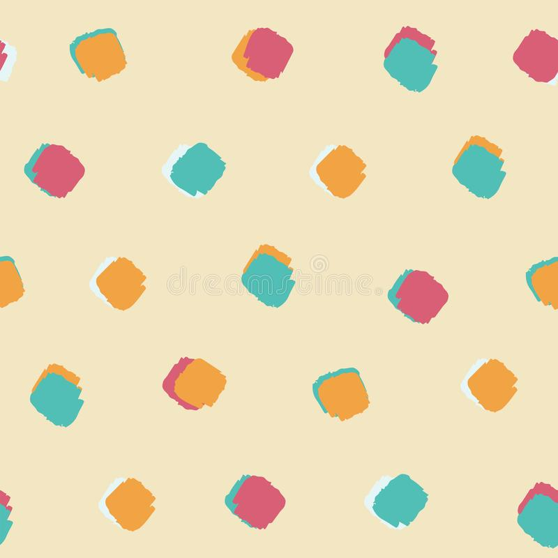 Summer bright colourful ink brush square dot pattern seamless background vector illustration